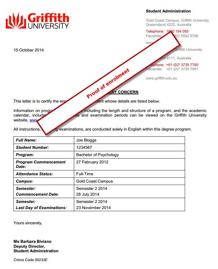 Griffith University Products Services Student Administration – Official Letter
